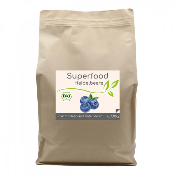 Superfood Heidelbeere bio Pulver 500g im Vorratsbeutel