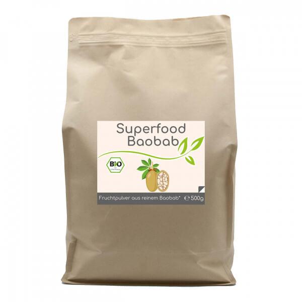 Superfood Baobab bio Pulver 500g im Vorratsbeutel