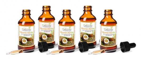 Vitamin K2 hochdosiert 100µg pro TD MK7 all trans vegan 5x 50ml Vorteilspaket