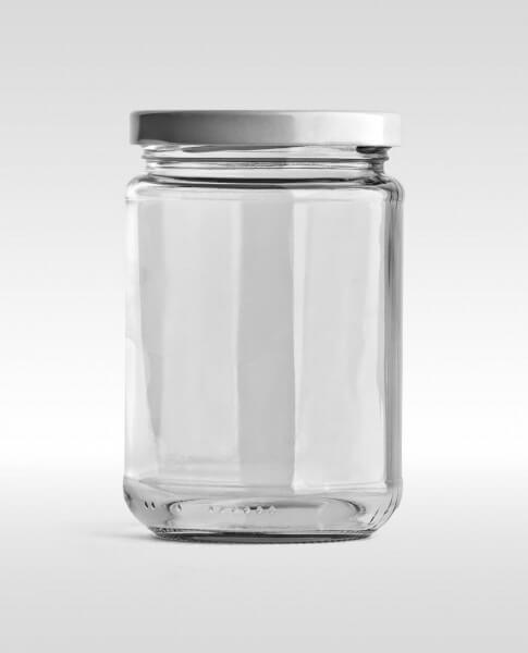 Praktisches Vorratsglas 580ml mit silbernem Deckel