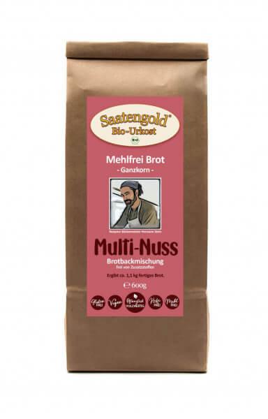 Mehlfreibrot Multi-Nuss -Ganzkorn- Bio Brotbackmischung 600g
