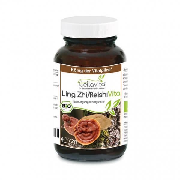 "Bio Ling Zhi / Reishi Vita 120 Kapseln ""Glänzender Lackporling""im Glas"