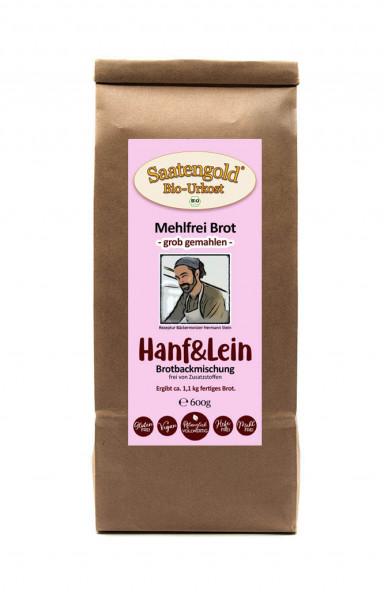 Mehlfreibrot Hanf & Lein -grob gemahlen- Bio Brotbackmischung 600g