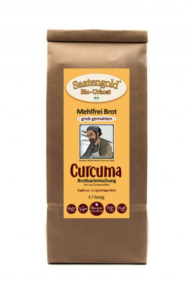 Mehlfreibrot Curcuma -grob gemahlen- Bio Brotbackmischung 600g