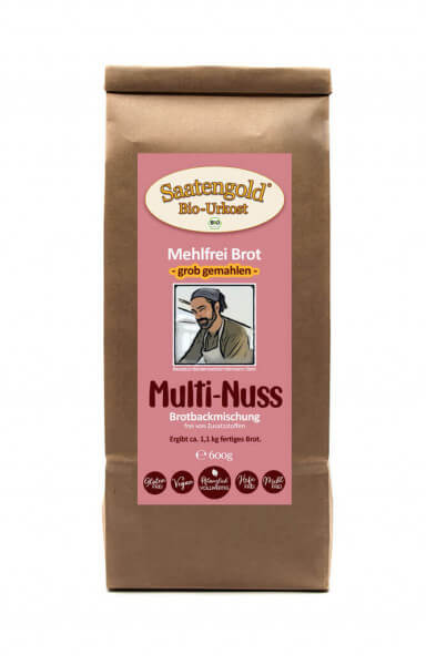 Mehlfreibrot Multi-Nuss -grob gemahlen- Bio Brotbackmischung 600g
