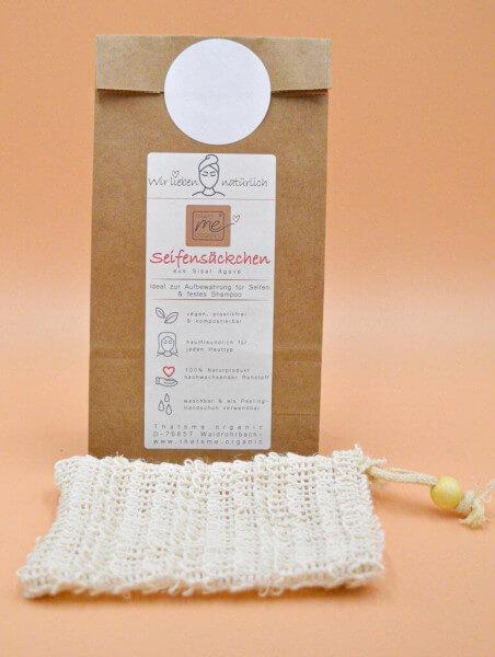Veganes Seifensäckchen aus Agaven-Fasern, perfekt für die Aufbewahrung von Seife oder festem Shampoo