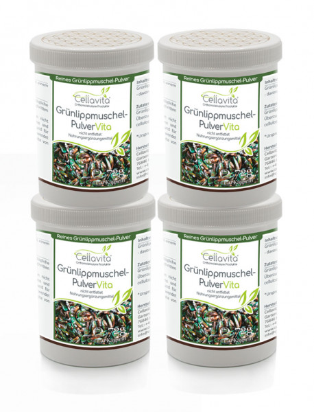 Grünlippmuschel-Pulver Vita (nicht entfettet) 4 x 150 Kapseln Vorteilspaket