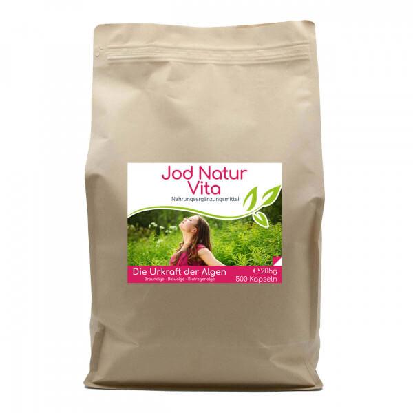 Jod Natur (Astaxanthin) Vita - 500 Kapseln im Vorratsbeutel