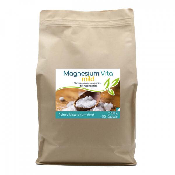 Magnesiumcitrat Vita 'mild' | 500 Kapseln im Beutel