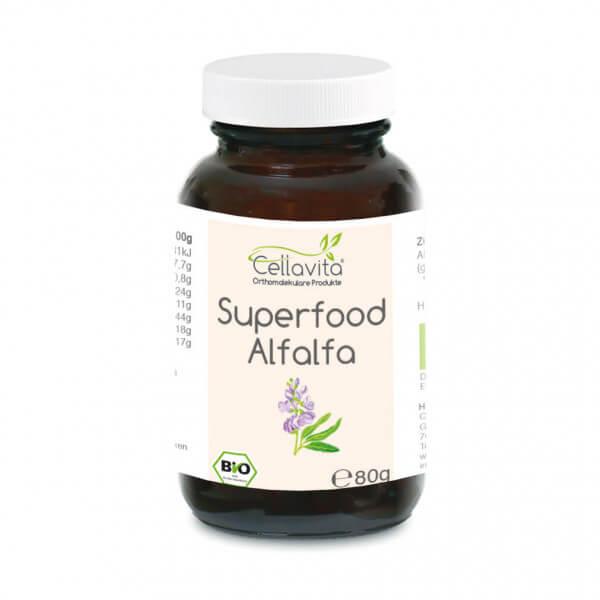 Superfood Alfalfa bio Pulver 80g im Glas