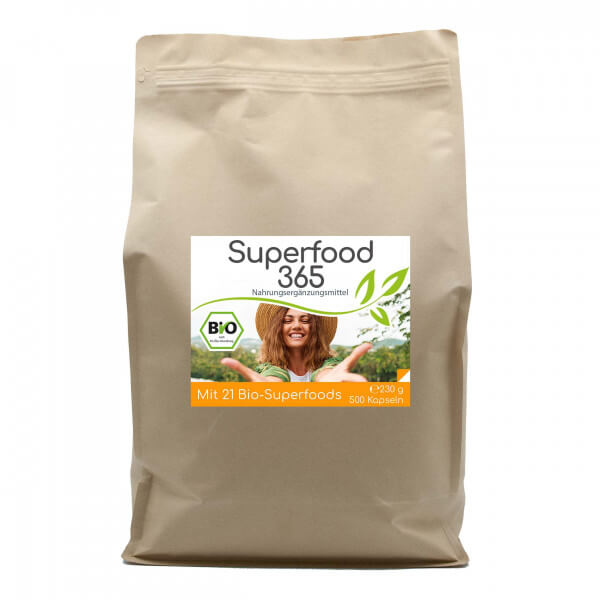 "Superfood 365 Bio ""Neue Rezeptur"" - mit 21 Bio-Superfoods 500 Kapseln Vorratsbeutel"