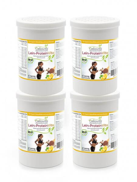 Lein-Protein Vita natürlicher Bio Proteinshake - 4x 900g Vorteilspaket