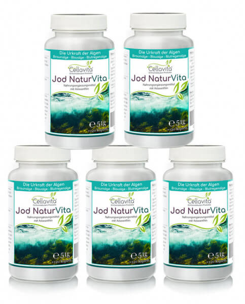 Jod (Astaxanthin) Natur Vita - Vorteilspaket - 5 x 120 Kapseln