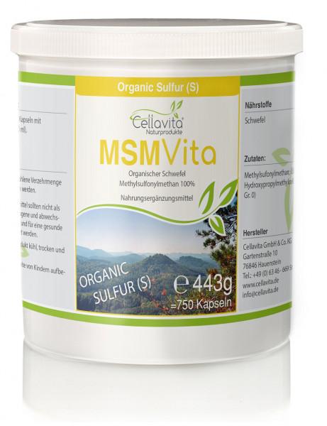 MSM - Organischer Schwefel 5-Monatsvorrat - 750 Kapseln