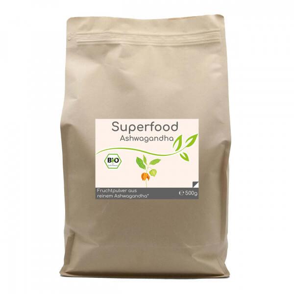 Superfood Ashwagandha bio 500g Vorratsbeutel