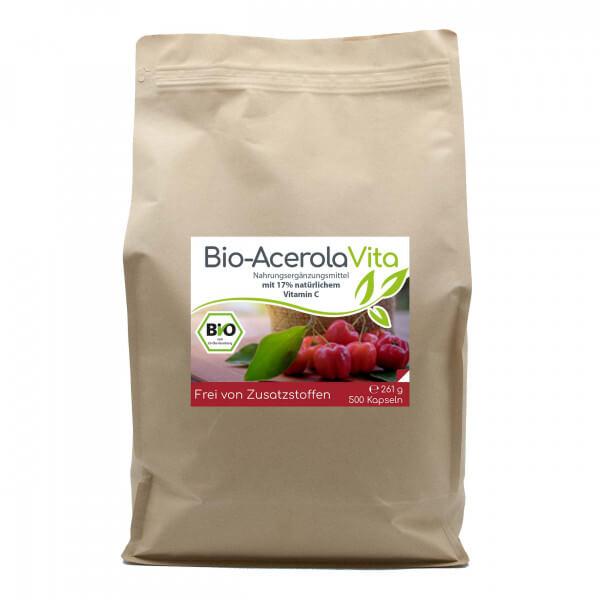 Bio-Acerola Vita (natürliches Vitamin C) 500 Kapseln Vorratsbeutel