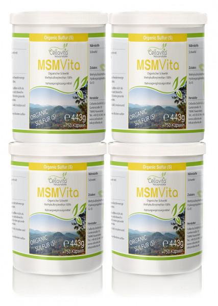 MSM - Organischer Schwefel Vorteilspaket 4 x 750 Kapseln