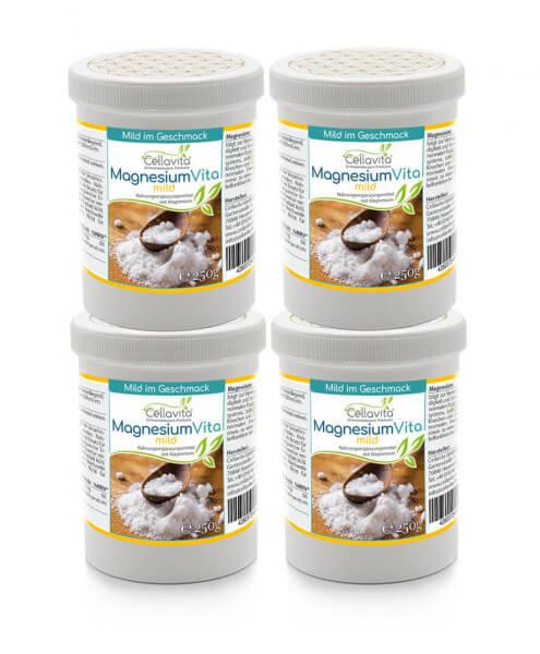 Magnesium Vita 'mild' | 4x 250g Pulver Vorteilspaket