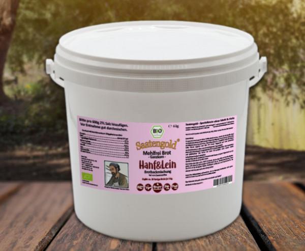 Mehlfreibrot Hanf & Lein -Ganzkorn- Bio Brotbackmischung 6 kg Eimer (Vorteilspackung)