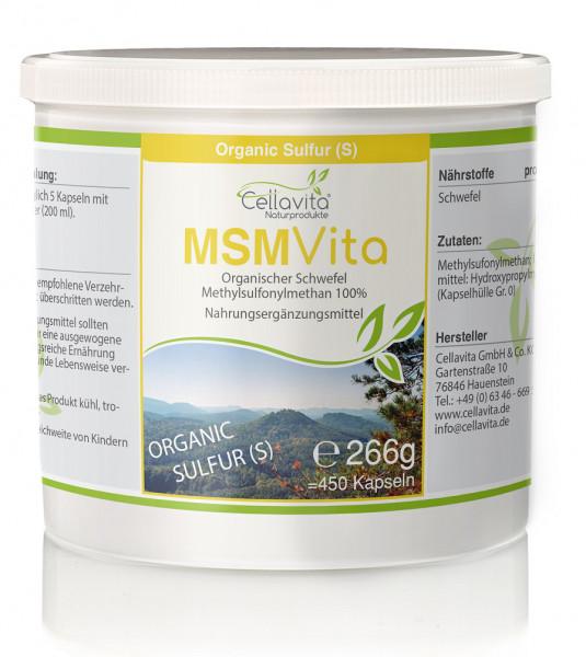 MSM - Organischer Schwefel 3-Monatsvorrat - 450 Kapseln
