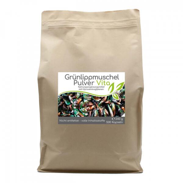 Grünlippmuschel-Pulver Vita (nicht entfettet) 500 Kapseln im Vorratsbeutel