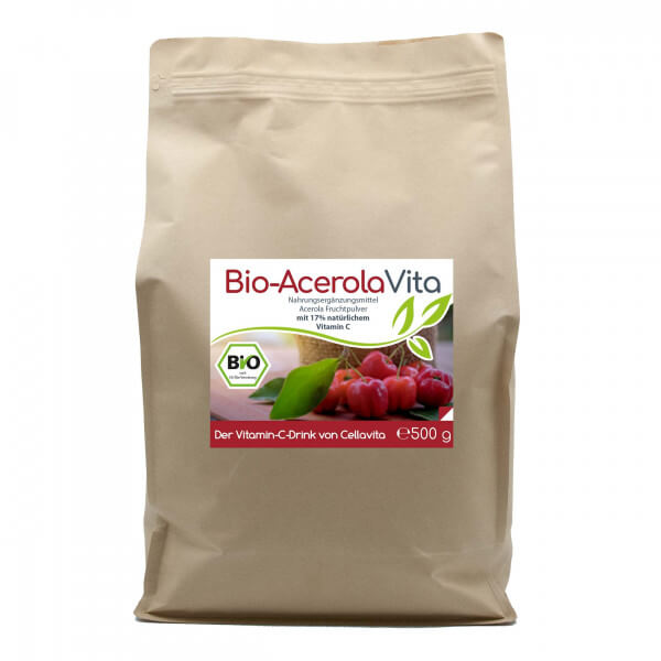 Acerola Vita (Der Vitamin-C-Drink) 500g Pulver (11 Monatsvorrat) Vorratsbeutel