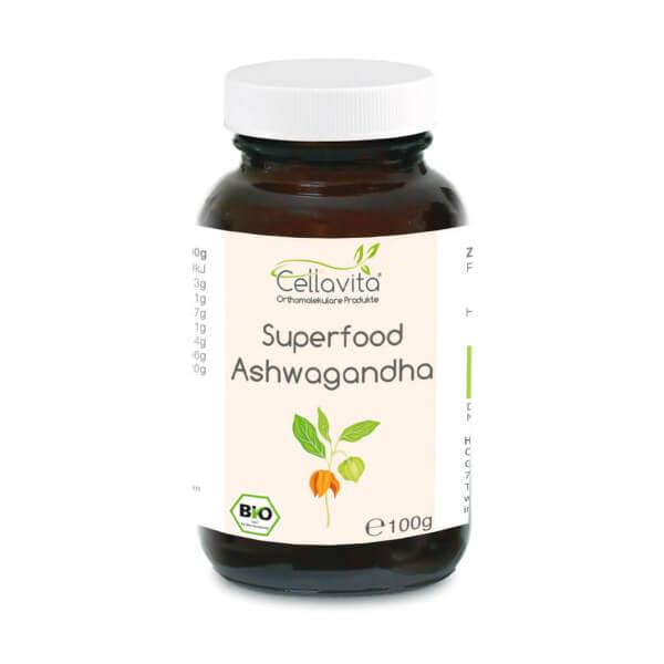 Superfood Ashwagandha bio Pulver 100g im Glas
