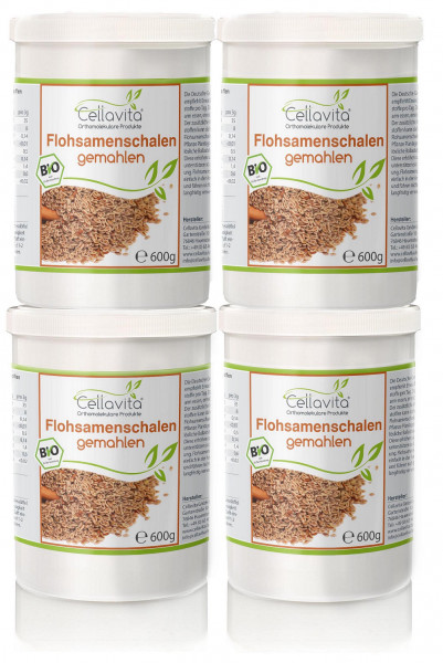 Bio Flohsamenschalenpulver (gemahlen) 4 x 600g Vorteilspaket