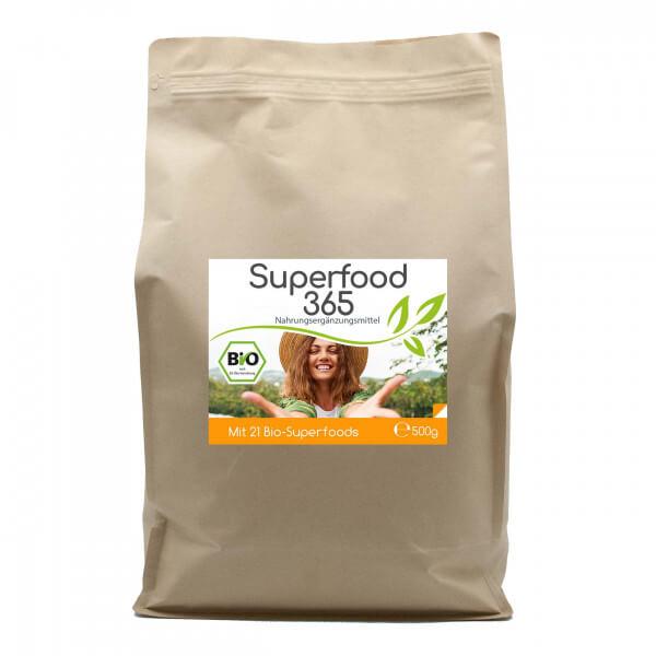 """Superfood 365 Bio """"Neue Rezeptur"""" - mit 21 Bio-Superfoods 125 Tagesvorrat 500g Pulver Vorratsbeutel"""