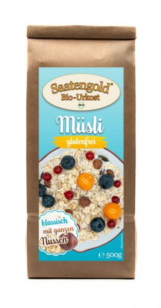 Saatengold® - Bio Müsli ohne Rosinen - glutenfrei & vegan - 500g