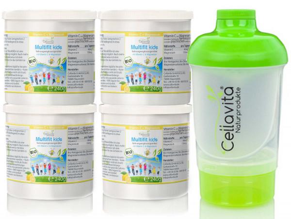 Multifit kids Vitamin C & Magnesium 4x 240g Vorteilspaket | Bio Getränkepulver zum Anrühren