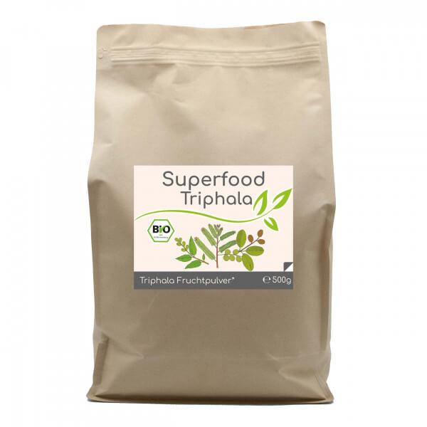 Superfood Triphala bio Pulver 500g Vorratsbeutel