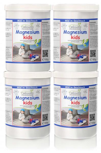 Magnesium kids für Kinder - 4 x 90g Vorteilspaket