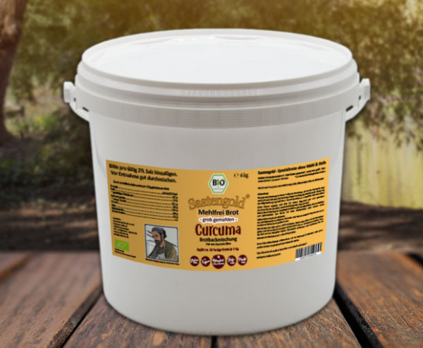 Mehlfreibrot Curcuma -grob gemahlen- Bio Brotbackmischung 6 kg Eimer (Vorteilspackung)