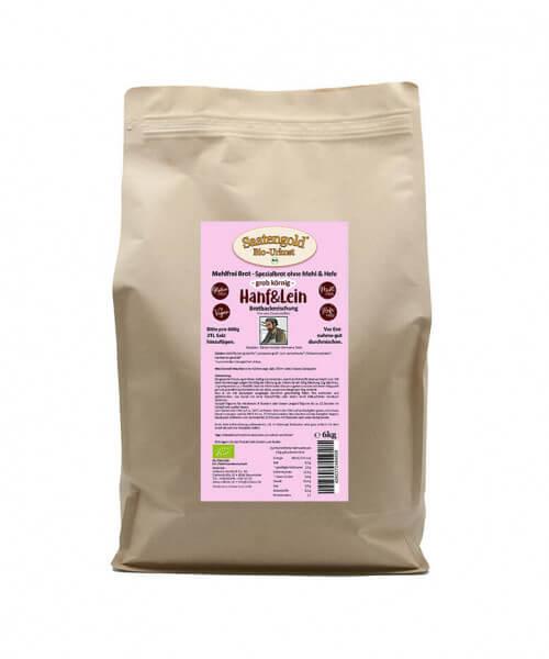 Mehlfreibrot Hanf & Lein 'grob-körnig' Bio Brotbackmischung 6 kg Beutel