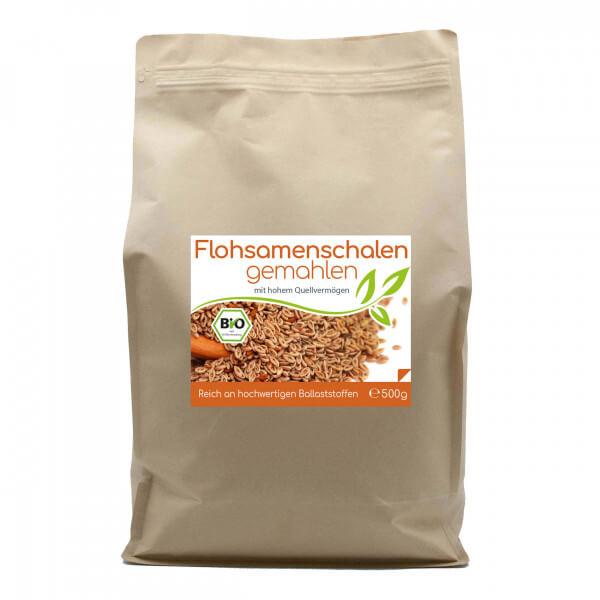 Bio Flohsamenschalenpulver (gemahlen) 500g Vorratsbeutel