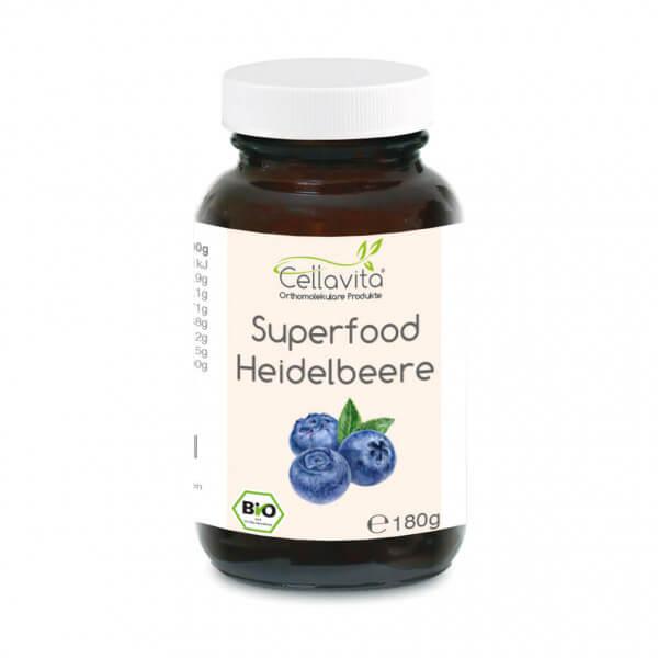 Superfood Heidelbeere bio Pulver 180g im Glas