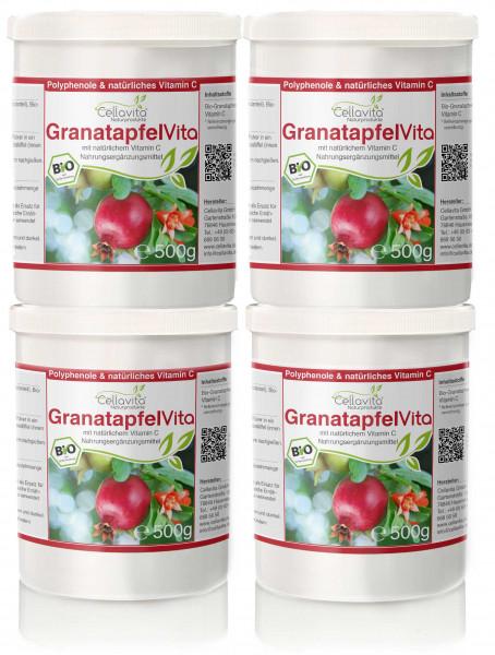 Bio Granatapfel Vita   Granatapfelextrakt mit Acerola-Kirsche - Vorteilspaket - 4x 500g
