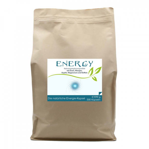 Energy - Die natürliche Energie-Kapsel | 500 Kapseln im Vorratsbeutel