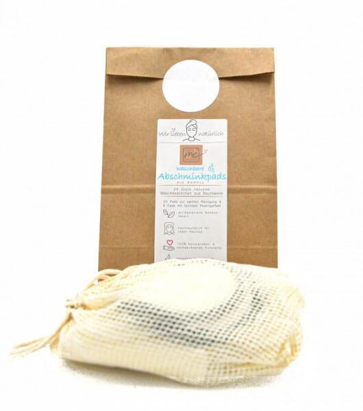24 vegane wiederverwendbare Abschminkpads aus Bambusfasern, umweltschonend, inklusive Wäschesäckchen