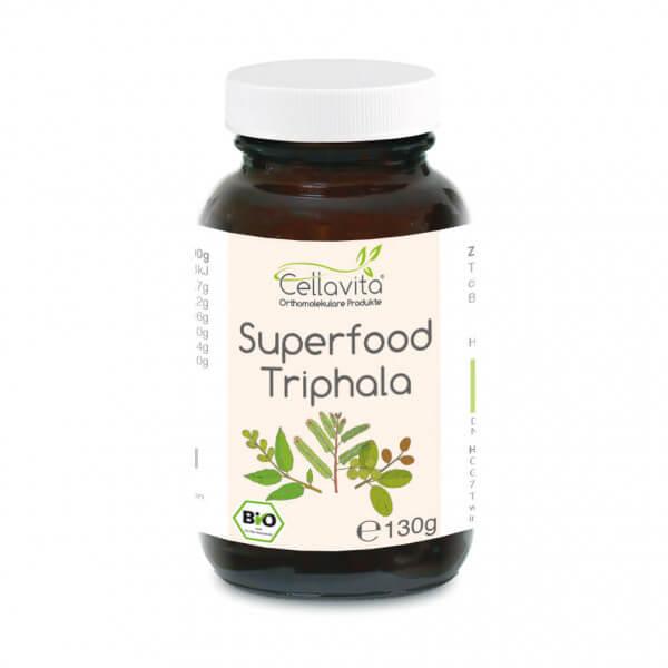 Superfood Triphala bio Pulver 130g im Glas