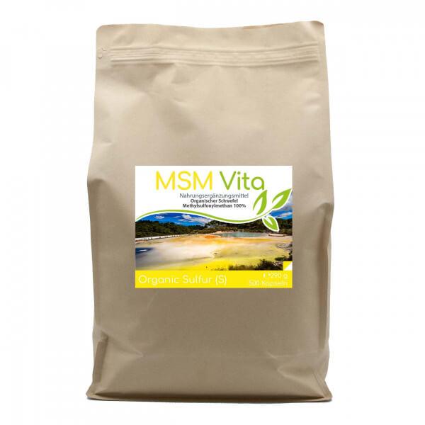 MSM - Organischer Schwefel - 500 Kapseln im Vorratsbeutel