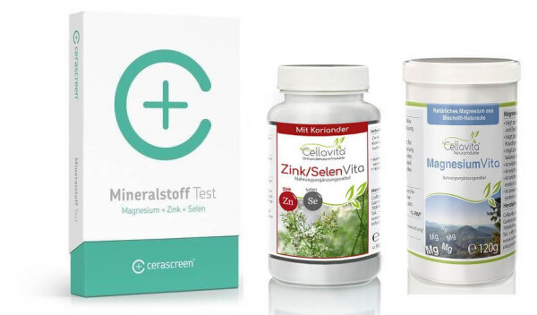 Mineralstoff Test Set plus 120g Magensium plus 90 Kapseln Zink Selen - schnell und bequem zu Hause durchführen