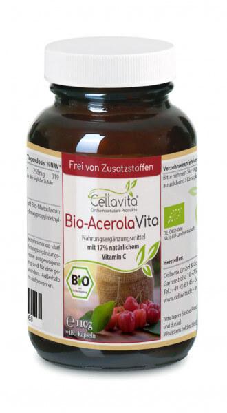 Bio-Acerola Vita Kapseln 180 Stk. im Glas (natürliches Vitamin C)