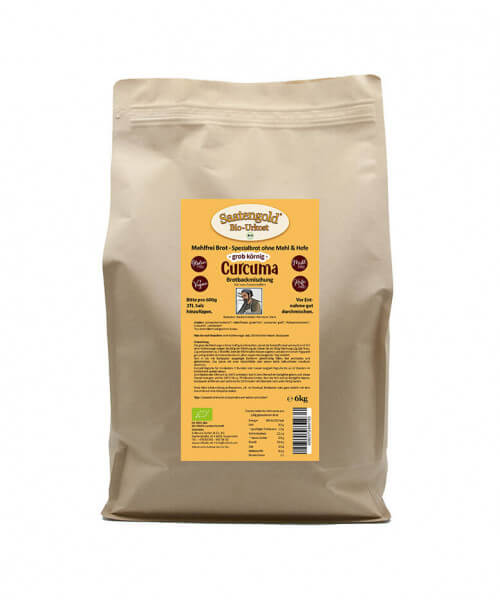 Mehlfreibrot Curcuma -grob körnig- Bio Brotbackmischung 6 kg Beutel (Vorteilspackung)