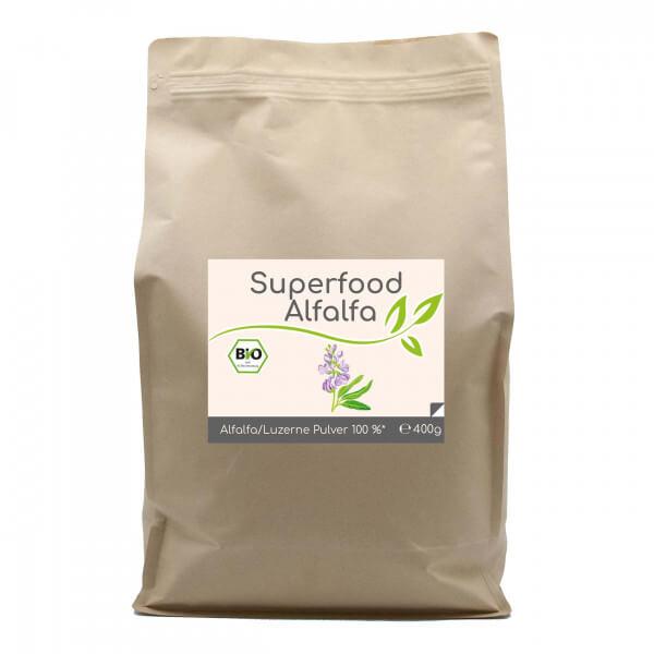 Superfood Alfalfa bio Pulver 400g im Vorratsbeutel