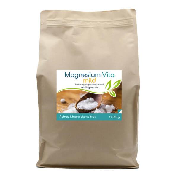 Magnesiumcitrat Vita 'mild' | 500g Pulver im Vorratsbeutel