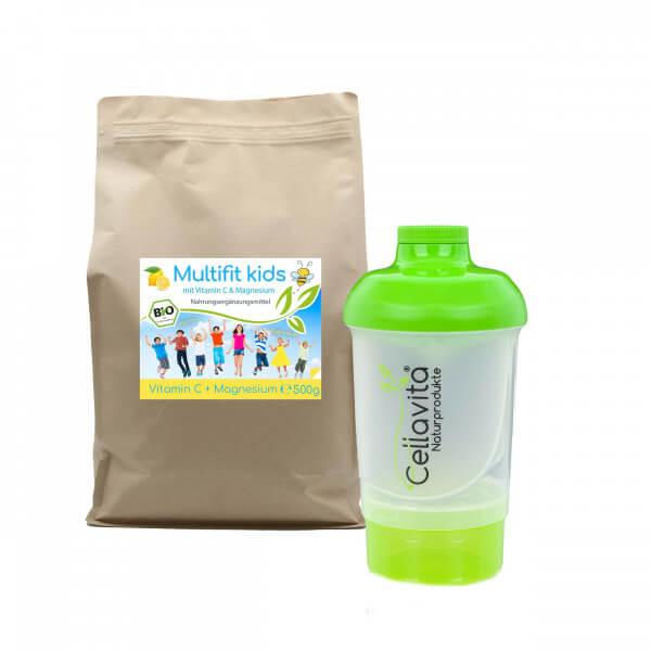 Multifit kids Vitamin C & Magnesium 500g Pulver | Bio Getränkepulver zum Anrühren inkl. Shaker